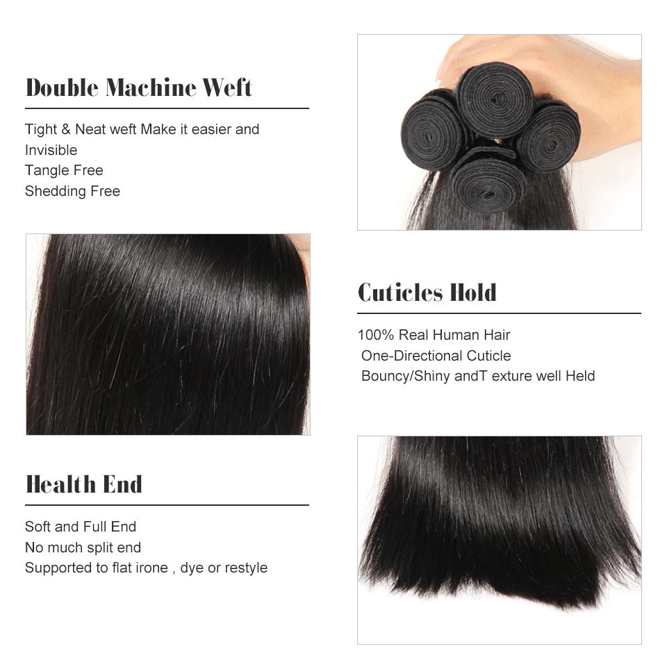 HC Products 100% Brazilian Straight Hair Weave 4 Bundles 8 28 Inch Human Hair Extensions Non Remy Hair Natural Black Can Dye-in 3/4 Bundles from Hair Extensions & Wigs    3