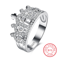 Trendy 925 Sterling Silver Crown Rings For Women Luxury Cubic Zirconia Crystal Wedding Bands Fashion Jewelry