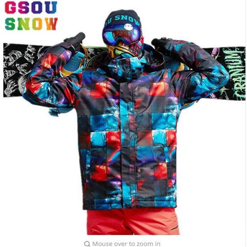 Livraison gratuite 2019 nouvelle offre spéciale de Gsou neige hiver extérieur thermique alpinisme veste russe hommes Snowboard veste