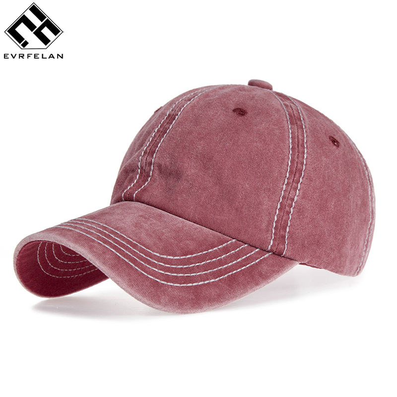 Evrfelan Adjustable Outdoor Sports Summer Caps Snapback Summer Solid Casual Adults Fashion Washed Durable Baseball Hat Unisex