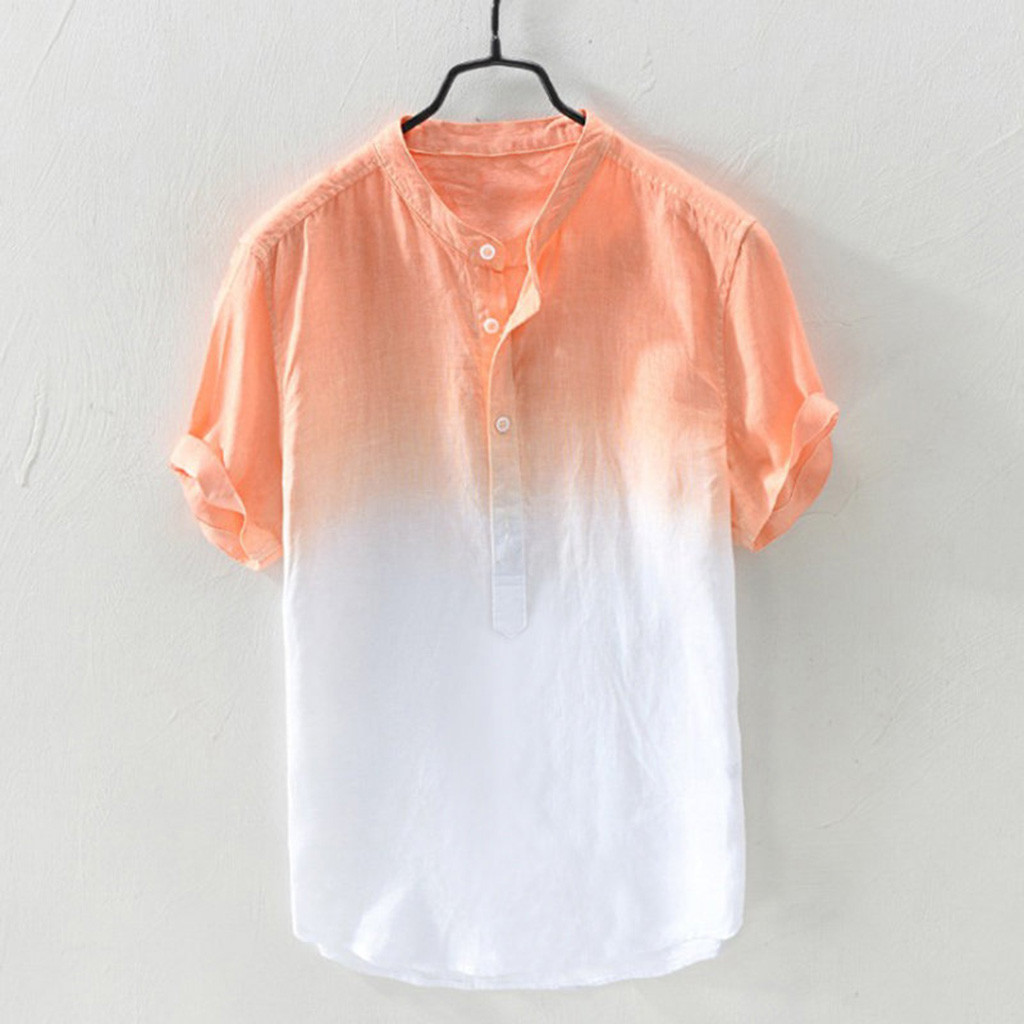 Camisa Cotton Shirt Collar Gradient Breathable Summer Thin Men's Hanging Cool And Masculina
