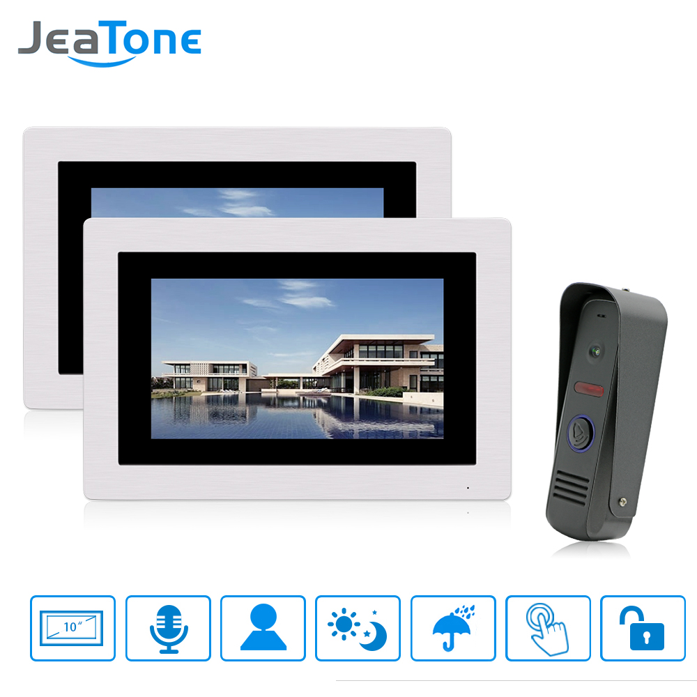 JeaTone 7 Touch Screen Wired Video Doorbell Video Intercom Rainproof Door Phone Home Security System 1 Camera 2 Monitors