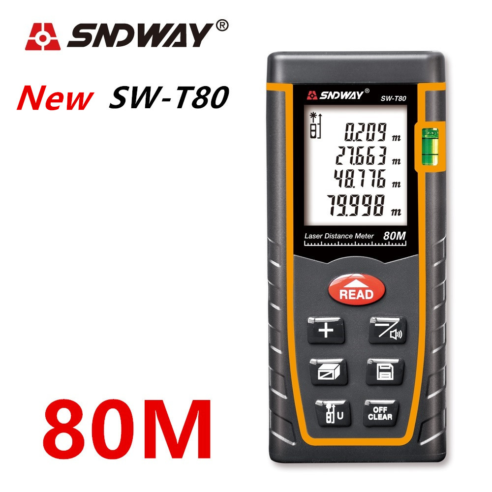 SNDWAY Laser Distance Meter 40-120M with LCD and Auto Power Off to Measure Wide Range Area 3
