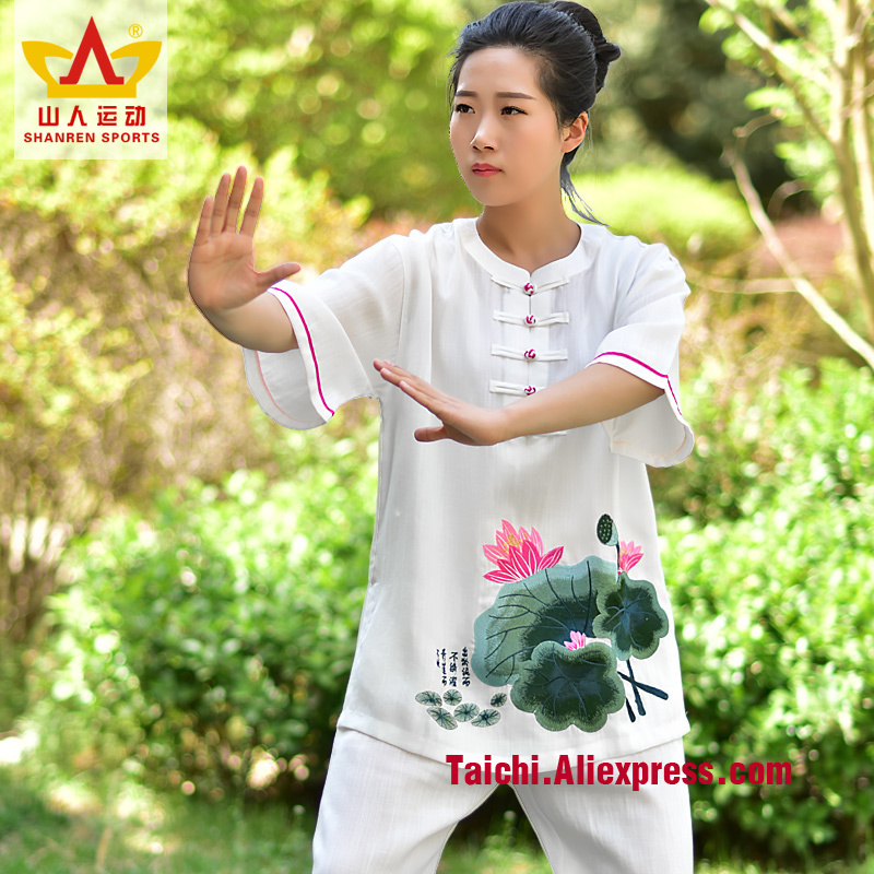 Embroidery Tai Chi Linen Cotton Clothes Martial Arts Performance Set Kungfu Uniform Tai Chi Clothes Kung Fu Clothing