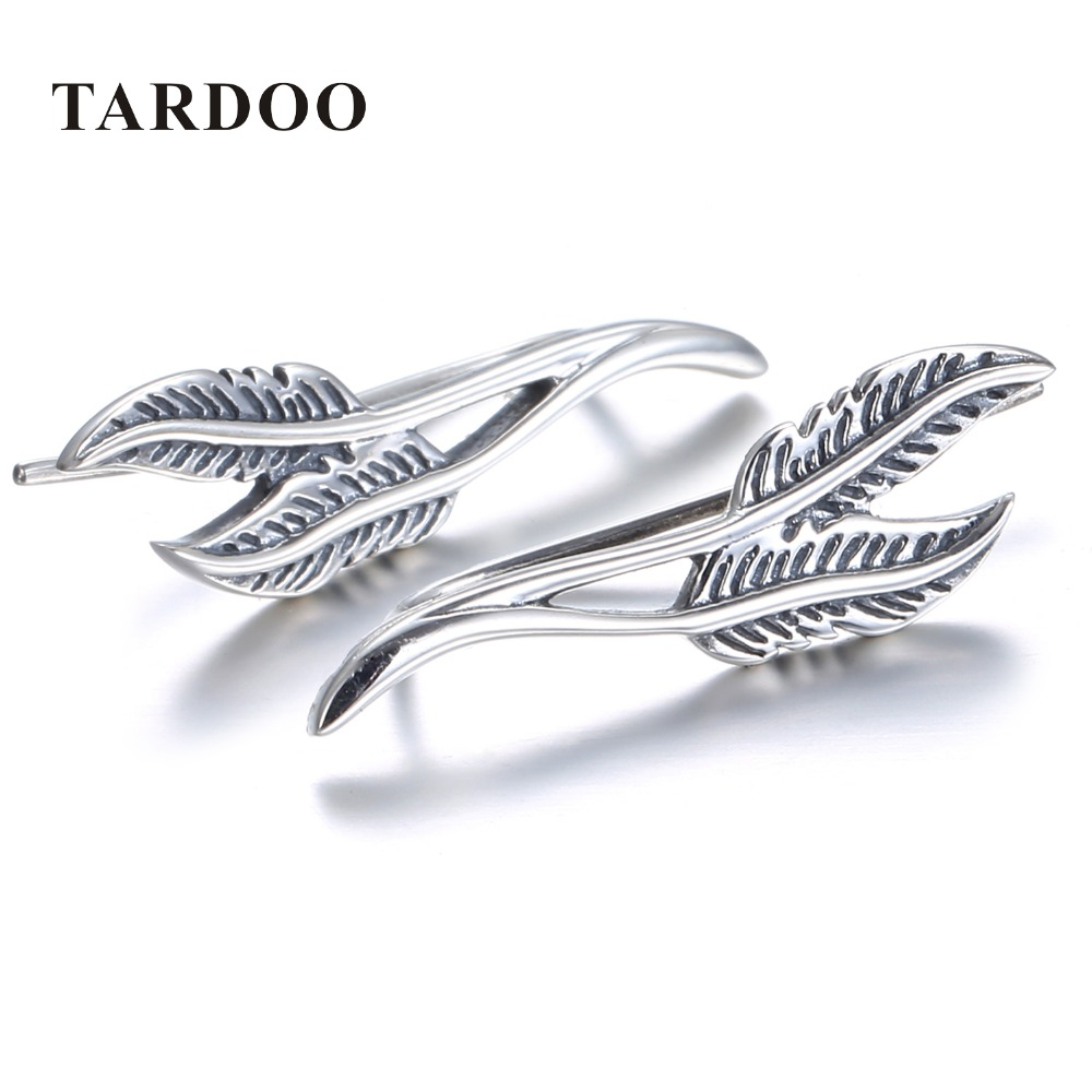 цена на Tardoo Earrings for Women 925 Sterling Silver Hook earrings Two Pieces of Feather Shape Vintage earrings Charms Big earrings