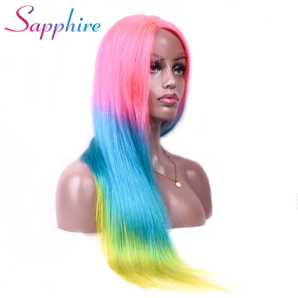 Sapphire Malaysian Straight Hair Lace Front Human Hair Wigs Head Seam Ombre 3 Color 11 4