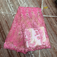 2018 Latest African Lace Fabric Pink Color French Stones Net Lace Fabric High Quality African Beaded