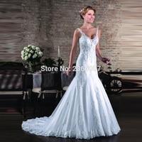 Vestidos De Noiva Spaghetti Straps Wedding dress 2018 Customize Appliques Crystals Beading Wedding Gowns Mermaid/Trumpet Dresses