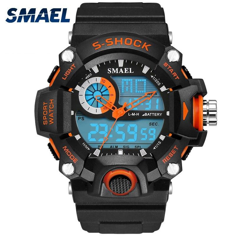 Smael relógios homens militar do exército relógio masculino reloj eletrônico led esporte relógio de pulso digital masculino 1385 s choque esporte