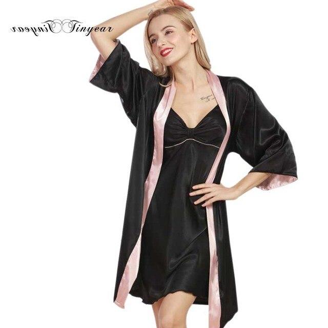 Tinyear 2017 Neue Designer Damen Robe Kleid Set Seidige Frauen