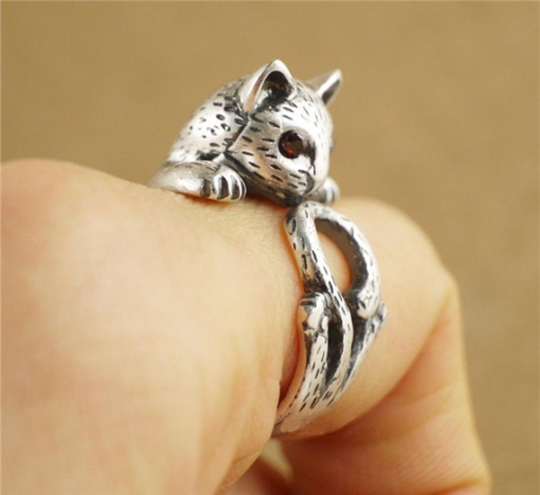 Yiustar Summer Style Hippie Vintage Anel Punk Kitty Wedding Ring Boho Chic  Brass Knuckle Cat Rings