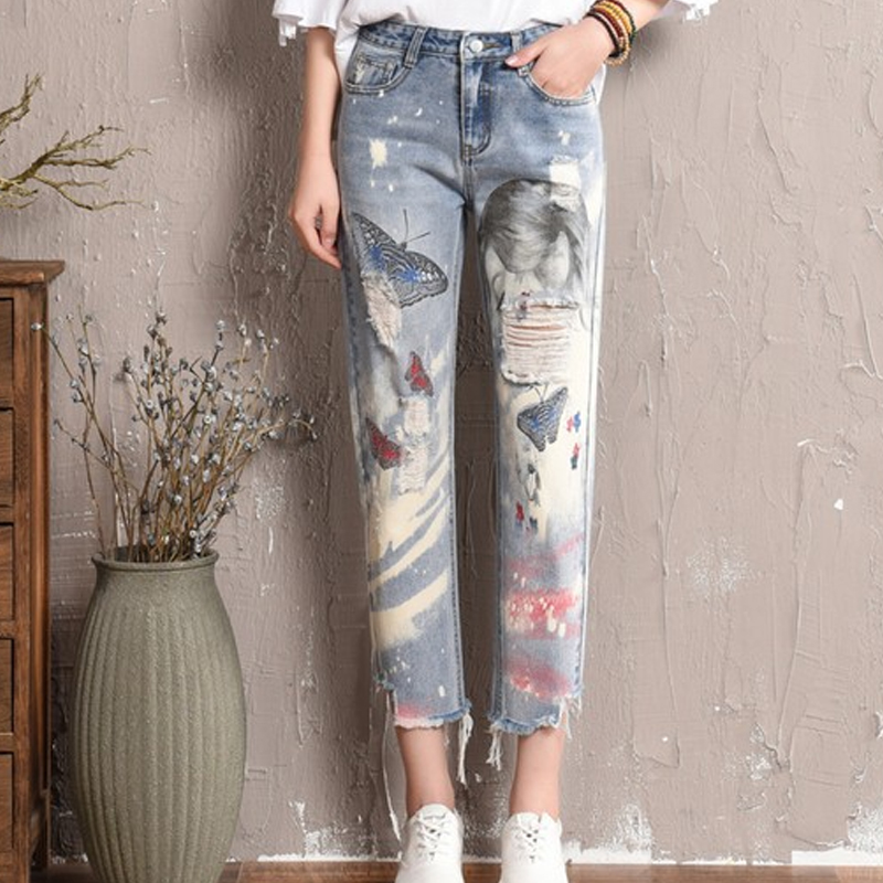 23efb238b6b Distressed Ripped High Waisted Boyfriend Jeans For Women Straight Jeans  woman Butterfly Graffiti Print Jeans Ankle