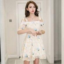 Chiffon Summer Dress Korean Fashion Fresh Floral Mini Off Shoulder S-XL Lace-up Slim Hollow Vestidos Verano 2019 Dropship