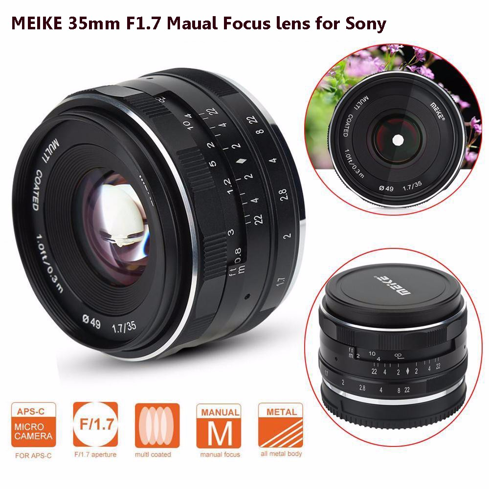 MEIKE MK-E-35-1.7 35mm F1.7 Large Aperture Manual Focus APS-C Camera Lens for Sony E Mount NEX3 NEX5 ILDC Mirrorless Camera