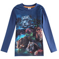 Ropa para niños ropa azul tigre león leopardo camiseta desgaste del cabrito infantil roupas meninos enfant