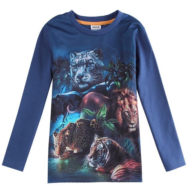 blue Clothing for boys clothes tiger lion leopard t shirt kid wear roupas infantil meninos enfant
