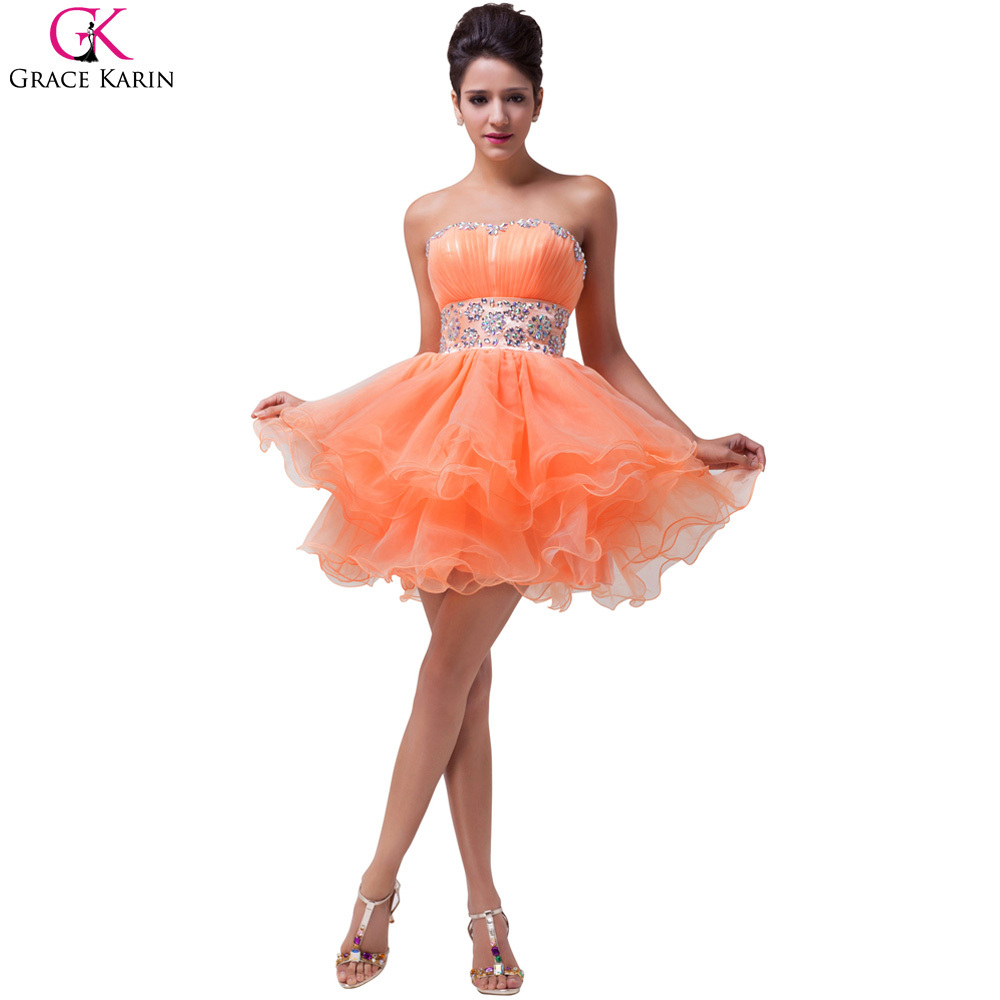 9354910fafb Grace Karin Beaded Orange Cocktail Dresses Strapless Ball Gown Knee Length Prom  Dress Organza Homecoming Graduation Gowns-in Homecoming Dresses from ...