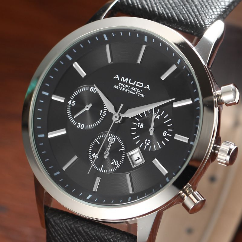 man watch AMUDA brand mens watches quartz genuine pu leather man wristwatches waterproof calendar AMUDA brand все цены