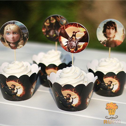 24pcs How To Train Your Dragon Cupcake Wrappers&toppers Picks Decoration Kids Birthday Decor Baby Shower Cupcake Cases AW-0020