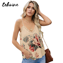 Echoine Women Apricot Young Love Ruffle Floral Print Cami Tank Sexy Adjustable Spaghetti Straps V Neck Sleeveless Camis Tops navy random floral print camis