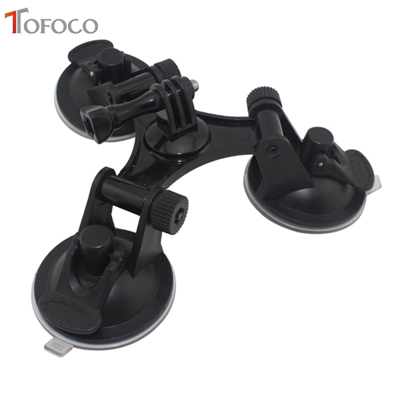 TOFOCO Car Windshield Triple Vacuum Suction Cup Mount Small Size Sucker for GoPro Hero 2 3 3+ 4 5 SJ5000 SJ4000 Xiaomi Yi dulane c00057 80cm powerful suction cup car holder for gopro hero 4 2 3 3 black