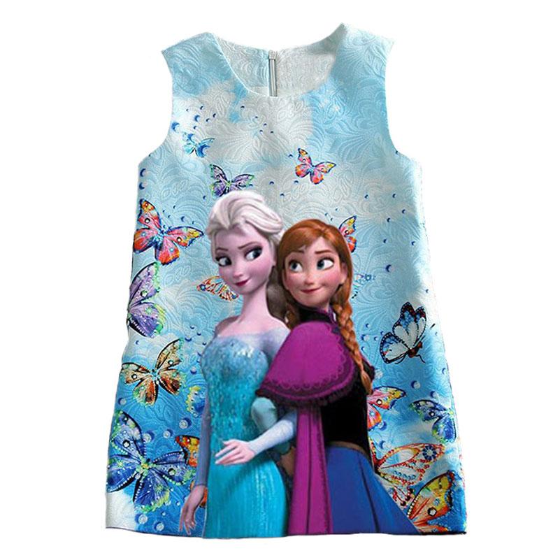 Summer dress for girls sleeveless print girl dress pattern jacquard princess dress O-neck clothes for girls cute floral print jacquard sleeveless princess dress for girl