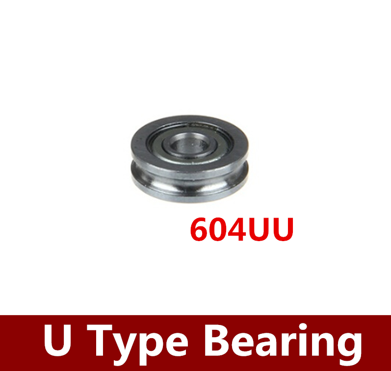 NEW 10PCS 4x13x4mm U Groove Sealed Guide Pulley Rail Ball Bearing 604UU Rapid Prototyping Bearings for 3D Printer