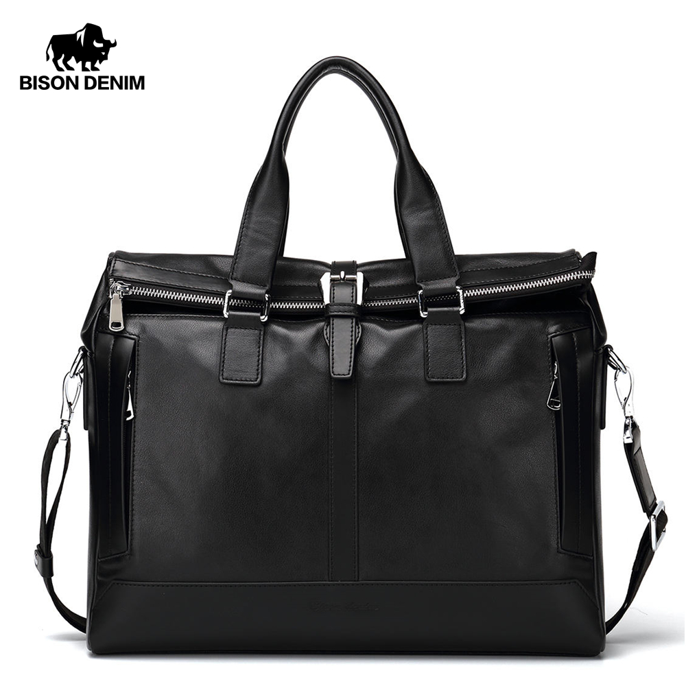 BISON DENIM Genuine Leather Men Bag 15 6 laptop Handbags Business Men Briefcase Bag Brand Shoulder