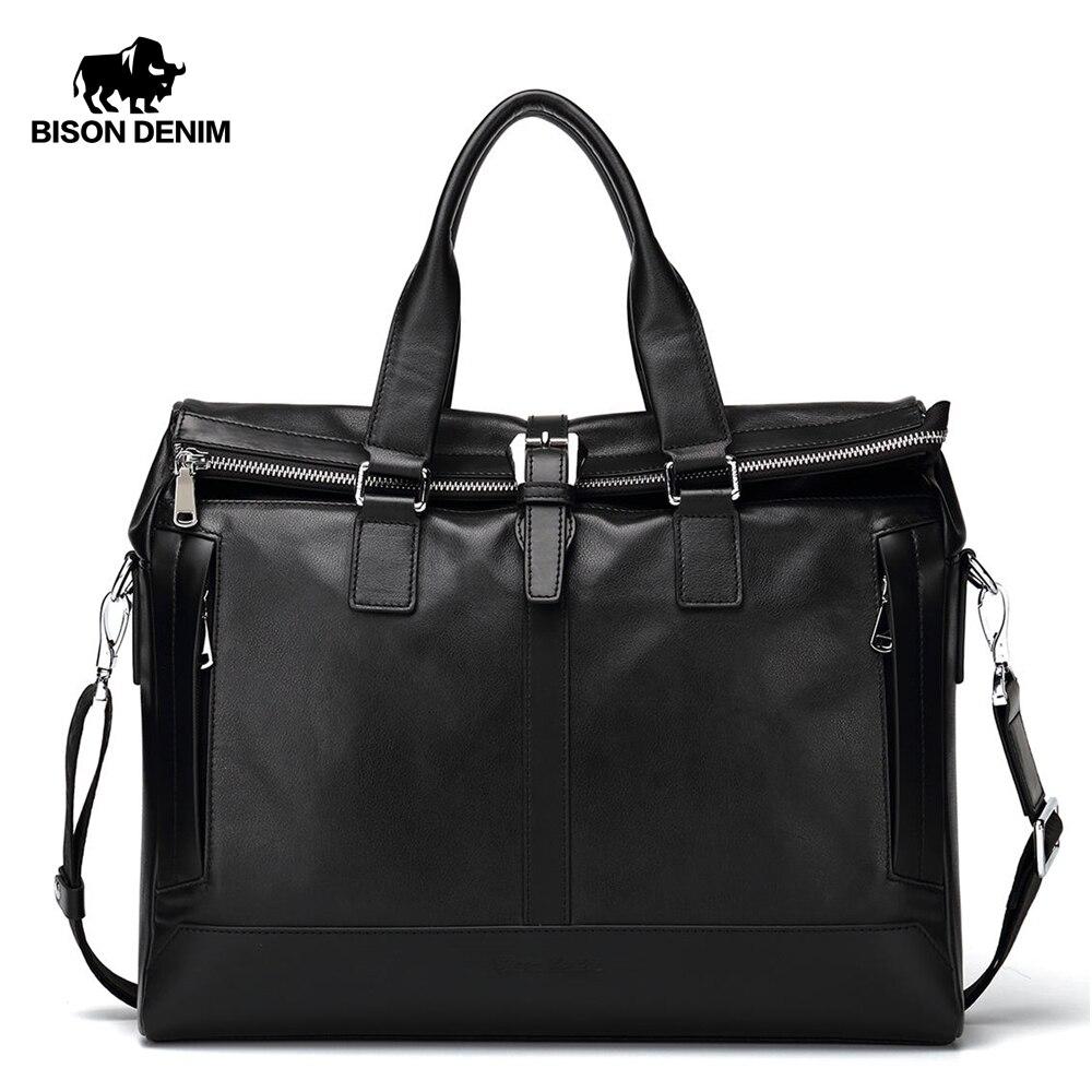 "BISON DENIM Genuine Leather Men Bag 15.6"" laptop Handbags Business Men Briefcase Bag Brand Shoulder Bag Messenger Bag N2559-in Top-Handle Bags from Luggage & Bags    1"
