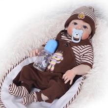 KEIUMI 23 Inch Cute Reborn Boneca Boy Handmade Silicone Reborn Baby Doll Full Body Vinyl Babies Toy For Kid's Birthday Gifts