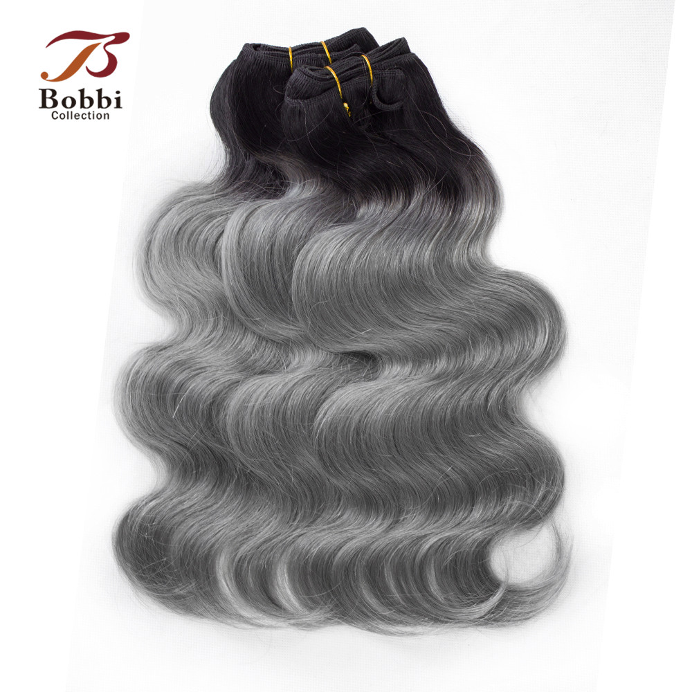 Bobbi Collection 2 3 Bundles T 1B Dark Grey Brazilian Body Wave Two Tone Ombre Hair
