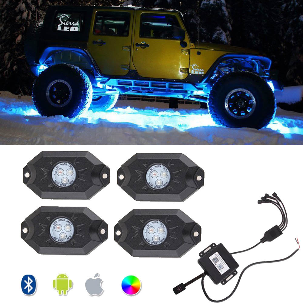 Bluetooth Pod rgb led свет рок под водить автомобиль флеш огни 4 свет фары рок RGB для бездорожью грузовик внедорожник шлюпки автомобиля (4 шт.)