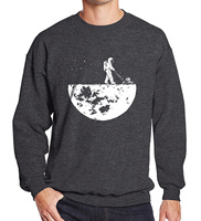Hot Sale 2017 Men Sweatshirts Autumn Winter Fleece Print HanHent Develop The Moon Fashion Casual Men