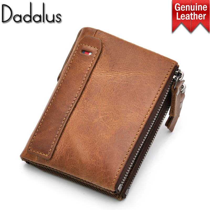 DADALUS Short Vintage Men Wallet By Crazy Horse Genuine Leather For Coin Money Male Purse Credit Cards Holder with Double Zipper male wallet men genuine leather purse vintage wallet crazy horse short slim high quality credit card holder dollar price wallet