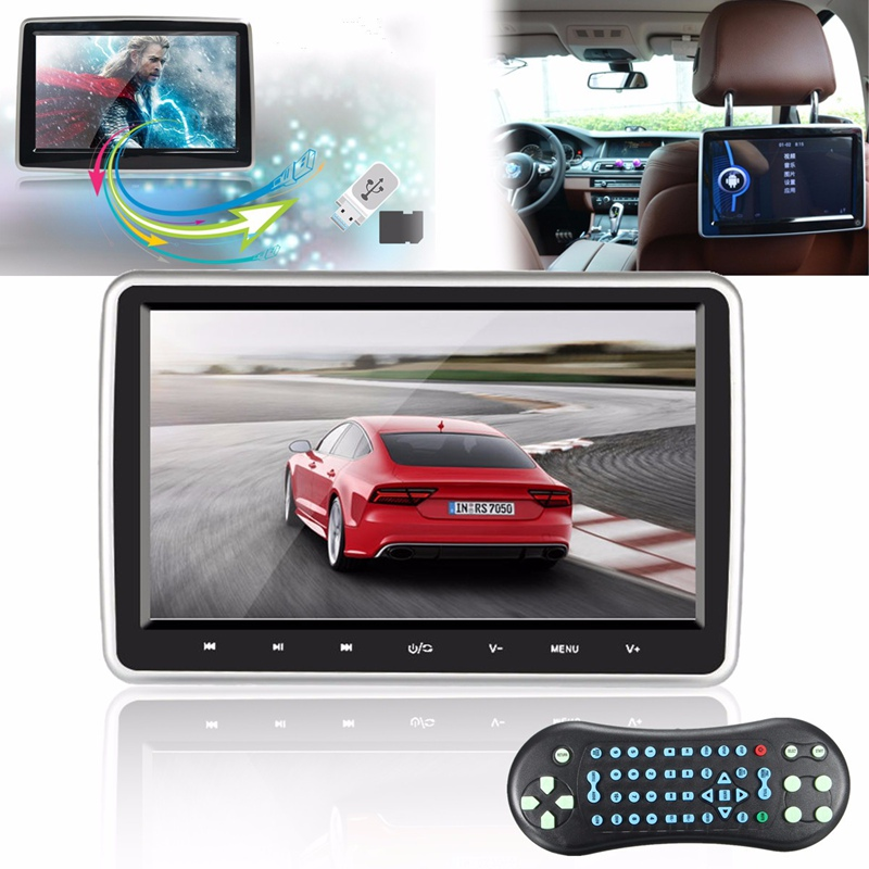 10 Inch HD 1024*600 TFT LCD Screen Portable Car Headrest Monitor DVD Player USB/SD Touch Button Game Remote Control car headrest 2 pieces monitor cd dvd player autoradio black 9 inch digital screen zipper car monitor usb sd fm tv game ir remote