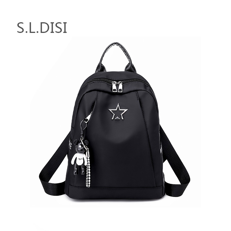 87c914658bbf Casual Oxford Cloth Backpack Bear Adornment Metal Star Bag For Teenage Girls  Travel Small School Bag Tide Backpack For Women2018