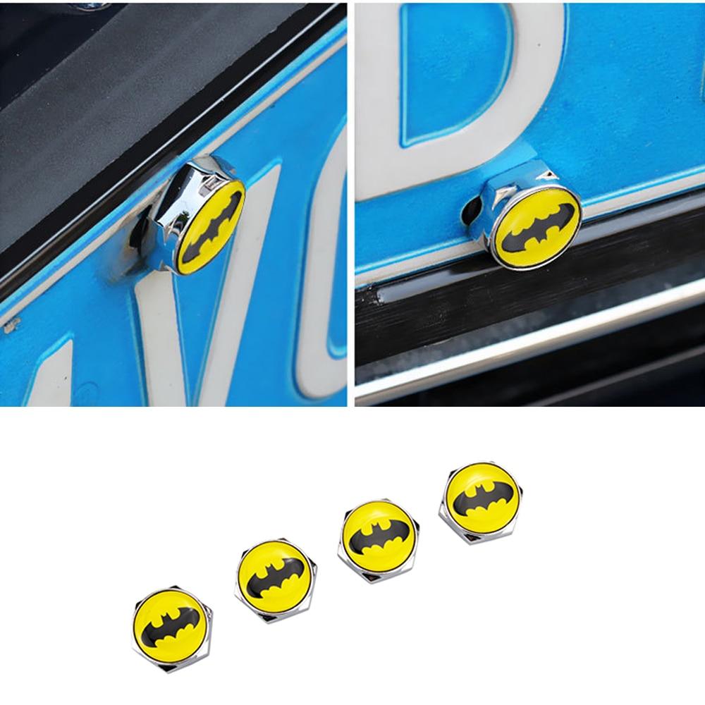 Bat Logo Car License Plate Frame Bolts Screws For Volkswagen VW BMW Audi Mercedes Lexus Mazda Renault Nissan Peugeot Opel Subaru