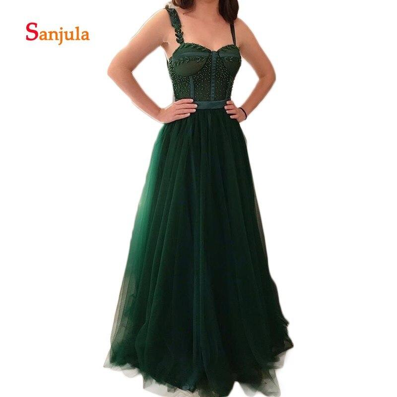 Paillettes perlées robes de soirée formelles chérie réservoir a-ligne vert foncé Tulle robes de soirée femmes cérémonie robes de soirée D771