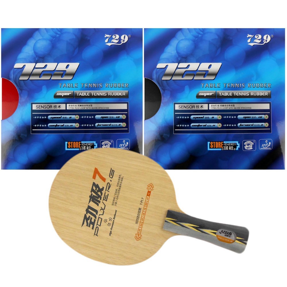 Original Pro Table Tennis Racket: DHS POWER.G7 PG7 with 2x 729 SUPER FX-729 (GuoYuehua) Rubbers shakehand Long Handle FL цена