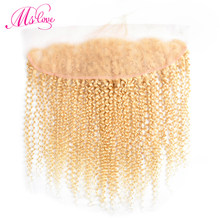 #613 Blonde Lace Frontal Closure Mongolian Kinky Curly Human Hair Closure Transparent Lace Frontal Pre Plucked Ms Love Non Remy(China)