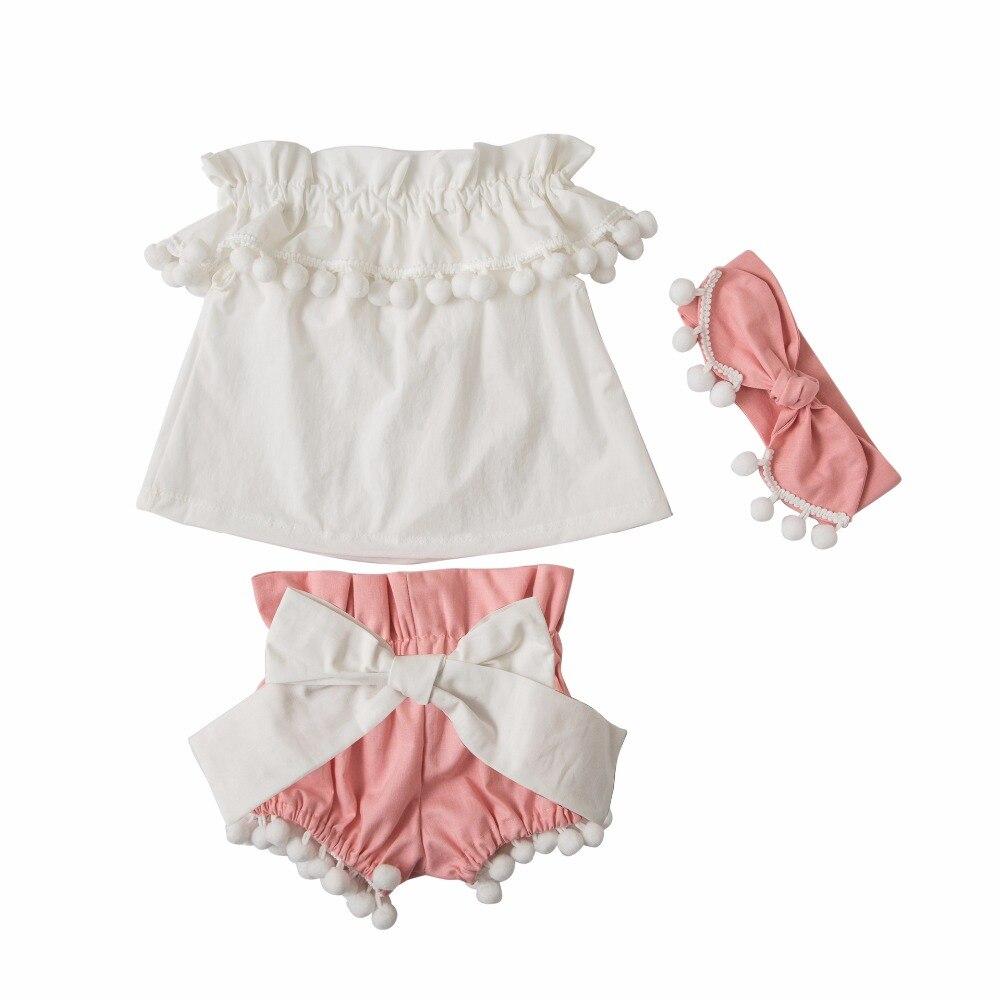 Cute Kids Summer Sets Girls Tassel Three Sets Boho Toddle Clothes Shoulderless Tops + Shorts +Headwear 3PCS Sets