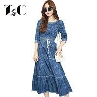 TC Plus Size 2016 New Women Autumn Dress Fashion Jeans Dress Vestido Casual Elegant Elastic Waist