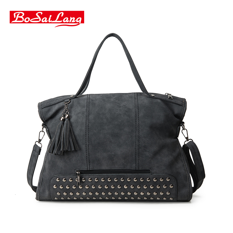 Rivet Nubuck Leather women bag Fashion Tassel Messenger Bag Vintage Shoulder Bag Larger Top Handle Bags