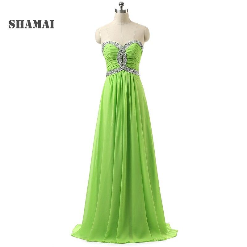 Shamai Lime Green Bridesmaid Dresses Long Sweetheart Beaded Pleated