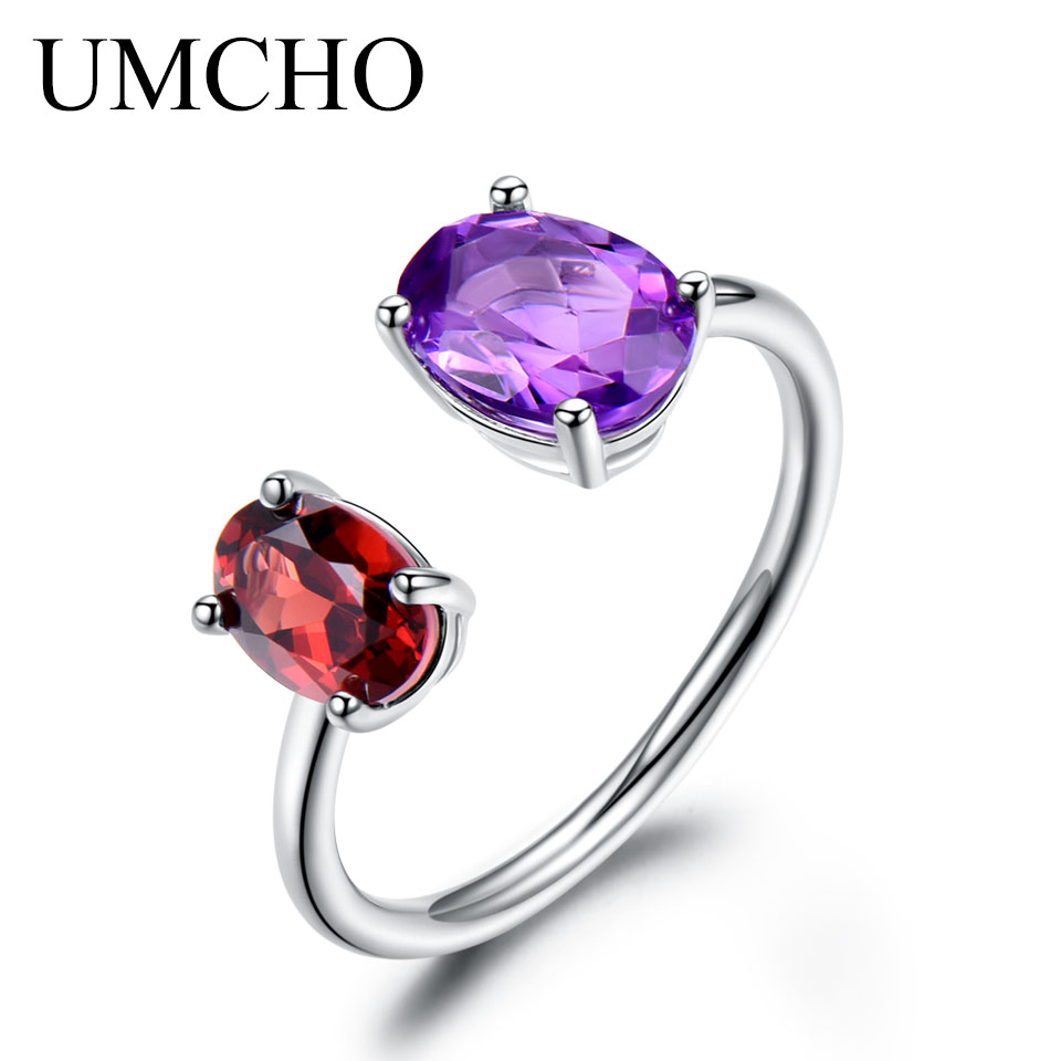 UMCHO 10.7ct Natural Amethyst Garnet Ring Various Gemstone Solid 925 Sterling Silver Engagement Rings For Women Fine Jewelry umcho luxury tanzanite rings for women solid 925 sterling silver gemstone engagement ring sets christmas jewelry gift with box