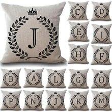 1 Uds. Letra de corona 43*43cm algodón Lino cojín funda decoración para hogar y coche sofá decoración funda de almohada 40166