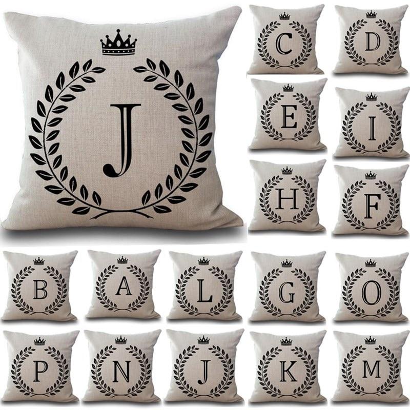 1Pcs Crown Letter 43*43cm Cotton Linen Throw Pillow Cushion Cover Car Home Decoration Sofa Decor Decorative Pillowcase 40166
