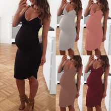 Ladies Pregnant Women Solid Color Sleeveless Sexy Dresses Female Lactation Breastfeeding Clothes Summer Sexy V-neck Dress 2019(China)