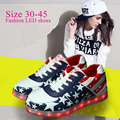 Tamaño 30-45 fashion shoes shoes niños luminosos zapatillas brillantes iluminado con luz hasta cestas niños feminino femme led zapatillas