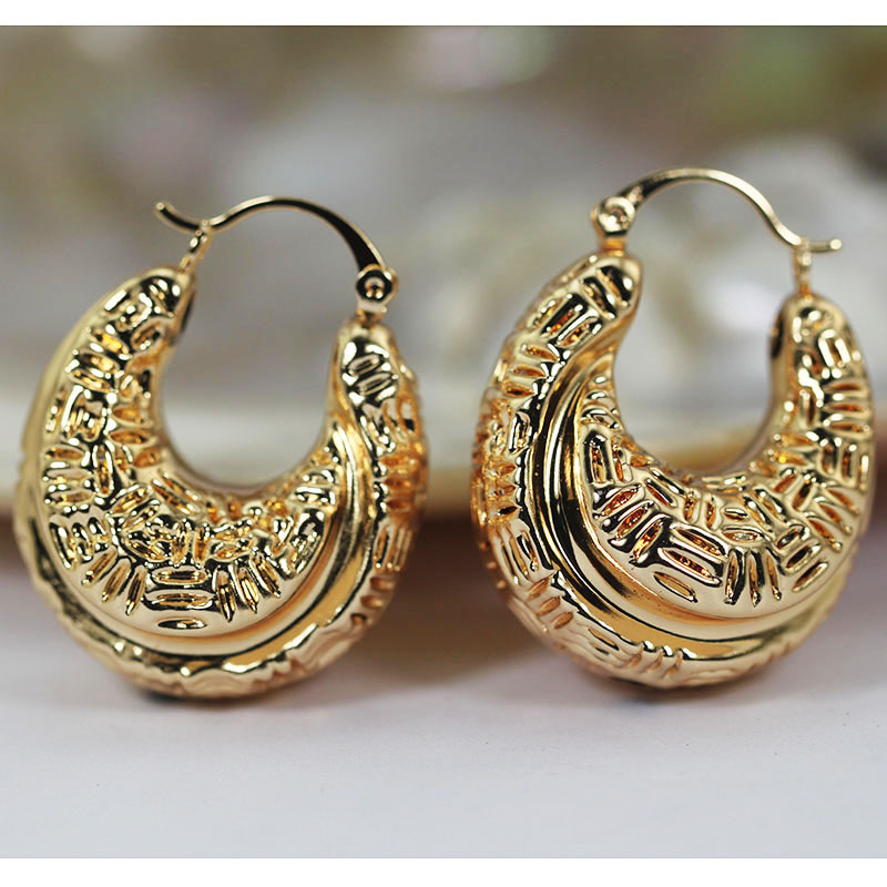 Hoop Earrings Jewelry & Accessories Hard-Working Romantic Carved Round Hoop Earrings Fashion Jewelry Copper Costume Wedding Hoop Earrings Princess Queen African Jewelry Ea135 Spare No Cost At Any Cost